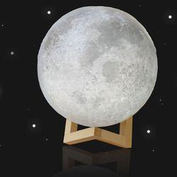 3D Luna Lámpara USB LED noche luz Lunar Moonlight Sensor táctil 2 Color cambio dormitorio hogar Decoración Luna Luz