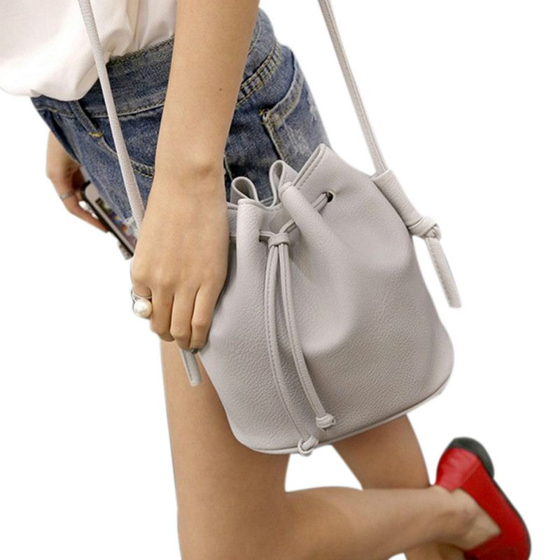 2017 Nuevas Mujeres de La Moda Bolso Pequeño Cubo Forma Mujeres Bolsas de Mensajero Mujer Bolsos de LA PU de Hombro de Cuero Crossbody Bag Bolsa
