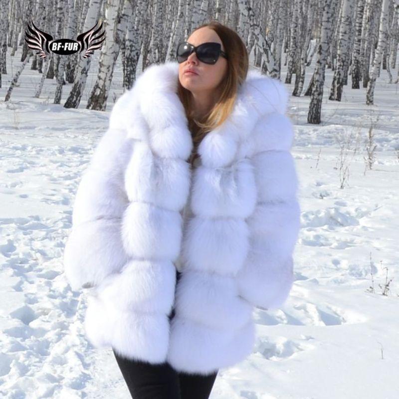 BFFUR Echtpelz Fuchs Mantel Winter Palace 2018 Neue Echtem Leder Jacken Weibliche Weiß Mode Kleidung Frauen Oberbekleidung Mit Kapuze