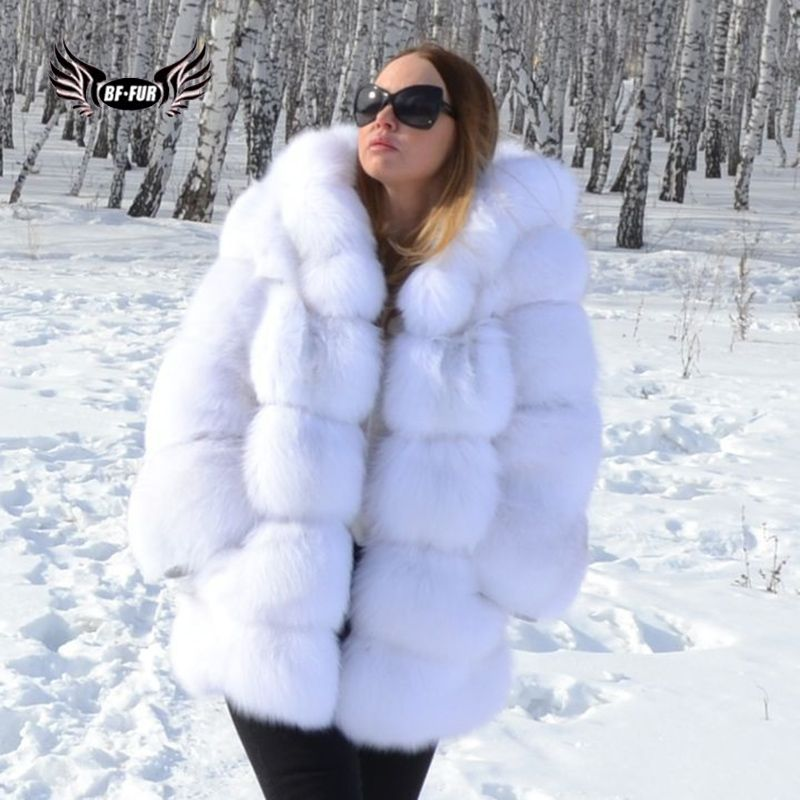 BFFUR Real Fur Fox Coat Winter Palace 2018 New Genuine Leather Jackets Female White Fashion Clothing Womens Outerwear With Hood