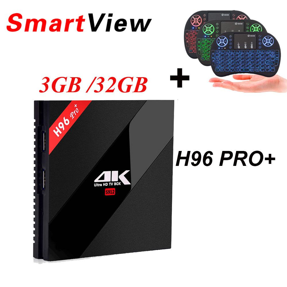 H96 Pro + Android 7.1 Smart TV Box 3 gb/32 gb 2 gb/16 gb Amlogic S912 2.4g/5.8g WiFi H.265 BT4.1 KD16.1 4 k Media player H96 Pro Plus