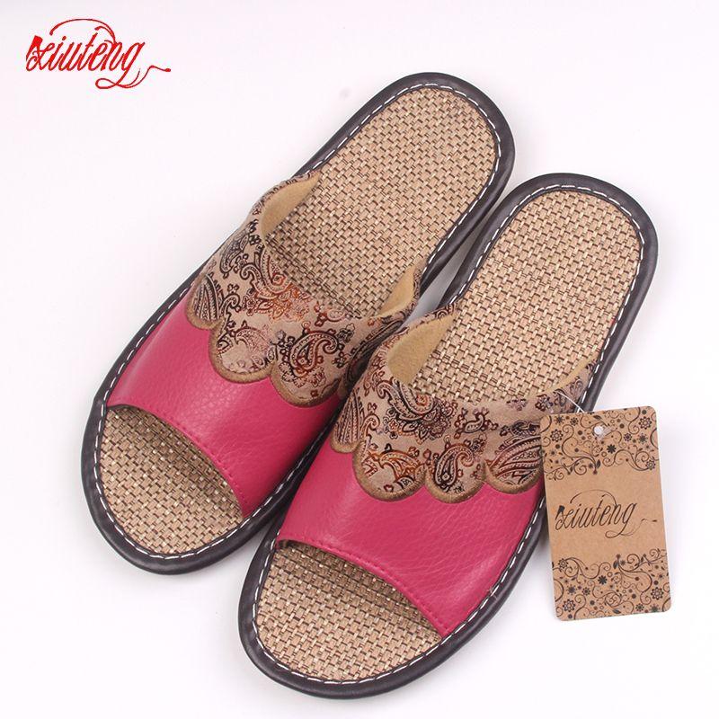 Xifairy g 2018 été/automne véritable cuir de vachette femmes maison pantoufles plat chaussures de lin intérieur Feminina sandales slip pe 3 couleur