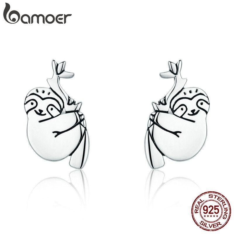 BAMOER Heißer Verkauf 100% 925 Sterling Silber Schöne Sloth Tier Kleine Stud Ohrringe für Frauen Sterling Silber Schmuck S925 SCE327
