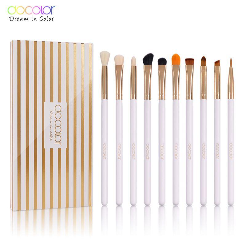 Docolor 10Pcs Makeup Brush Professional Eyeshadow Eyeliner Lip Brushes for Makeup Brand Make Up Brushes Eye Brushes Set