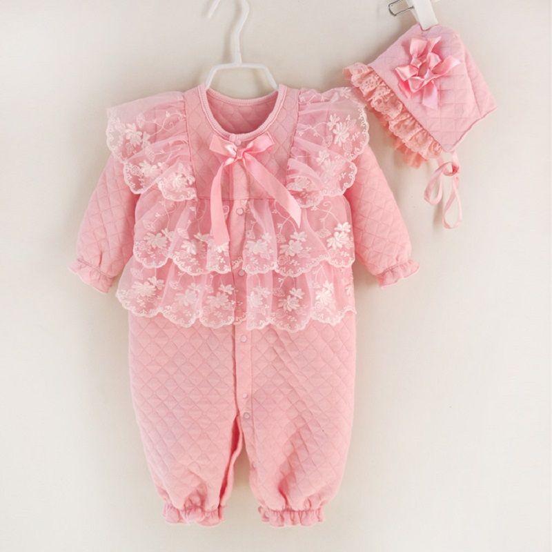 Nouveau-né bébé fille vêtements Air coton hiver épaissir combinaisons barboteuses princesse dentelle infantile filles vêtements ensemble combinaison + chapeaux