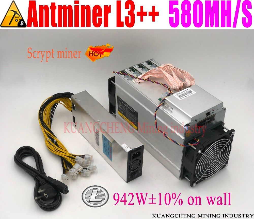 ANTMINER L3++ LTC 580M with psu scrypt miner LTC Mining Machine on wall Better Than ANTMINER L3+