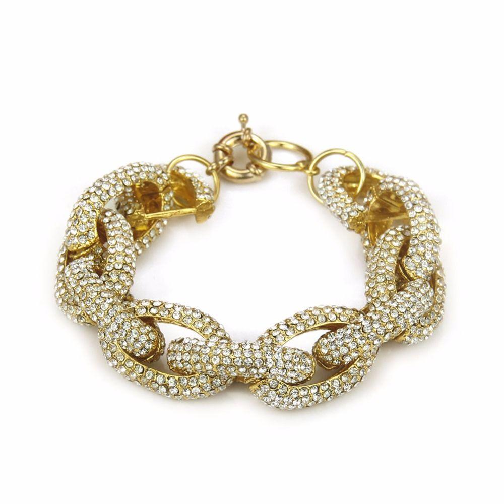 Mode Kristall Verzierten Strass Gepflasterte Link Kette Armband