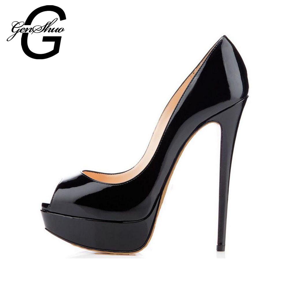 GENSHUO 14CM chaussures de marque talons femmes plate-forme talons hauts pompes Peep Toe cuir rouge chaussures de mariage grande taille 4243 44 45