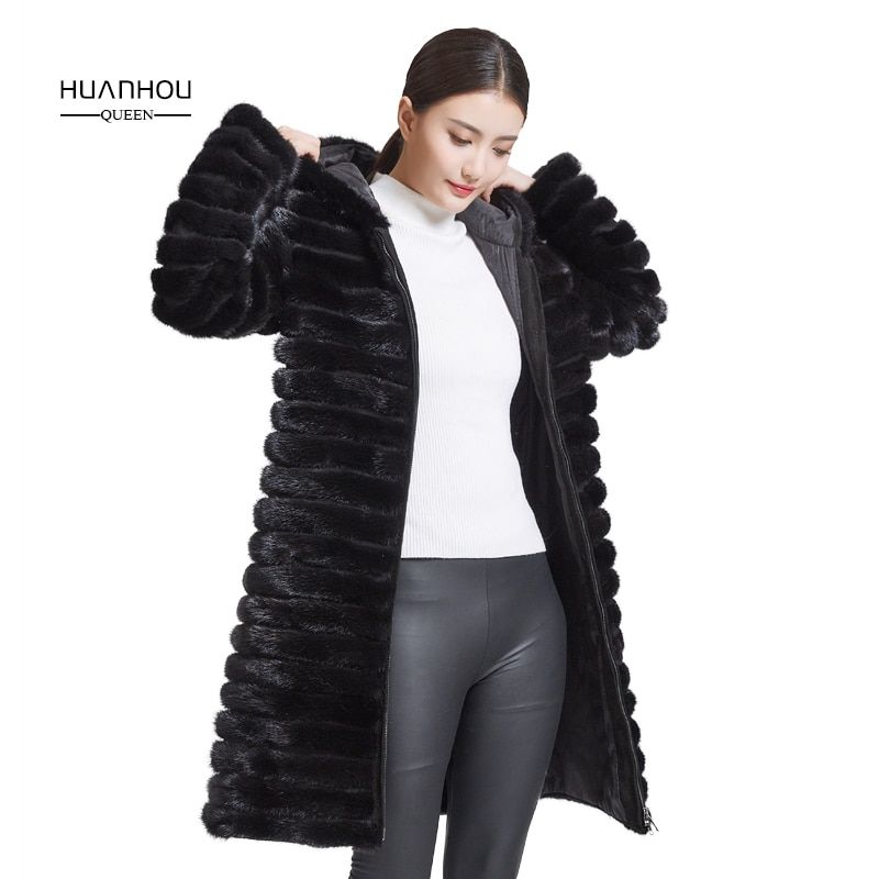 Huanhou queen 2018 real mink fur coat for women with hood,extra large plus size winter warm slim coat.