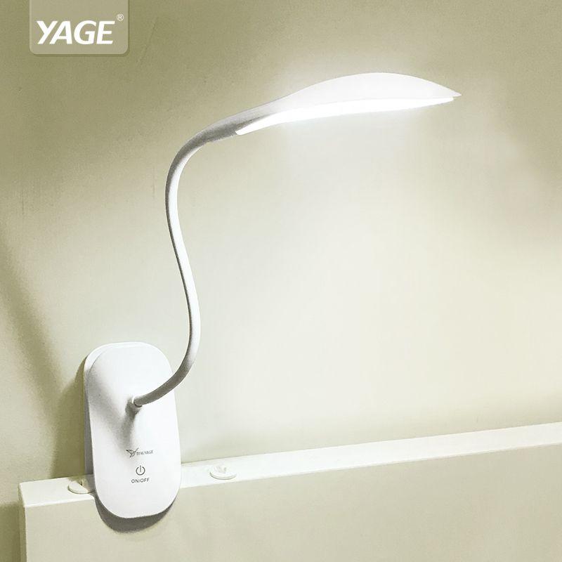 YAGE 5932 Desk Lamp LED reading Desk light 14 led table lamp <font><b>clip</b></font> led Touch on/off light Modern Foldable fixtures battery