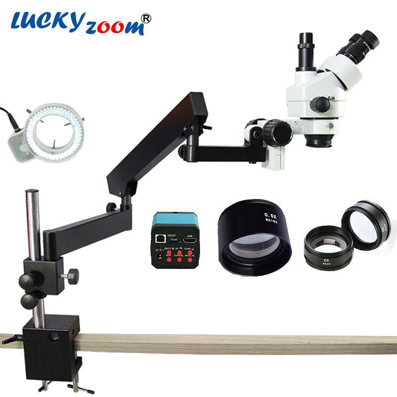 Luckyzoom Brand 3.5X-90X Articulating Arm Zoom Stereo Microscope 14MP HDMI Digital Camera 2.0X 0.5X Objective Len 144LED Light