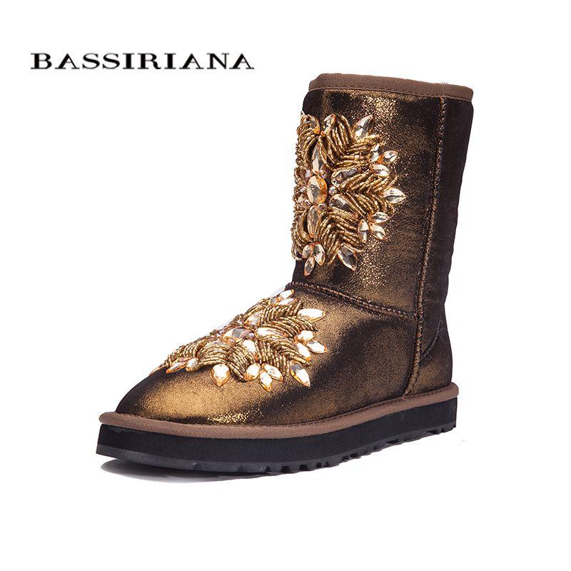 Bottes en cuir véritable snowboots Chaussures femme Hiver 35-40 Chaud confortable femme chaussures Livraison gratuite BASSIRIANA