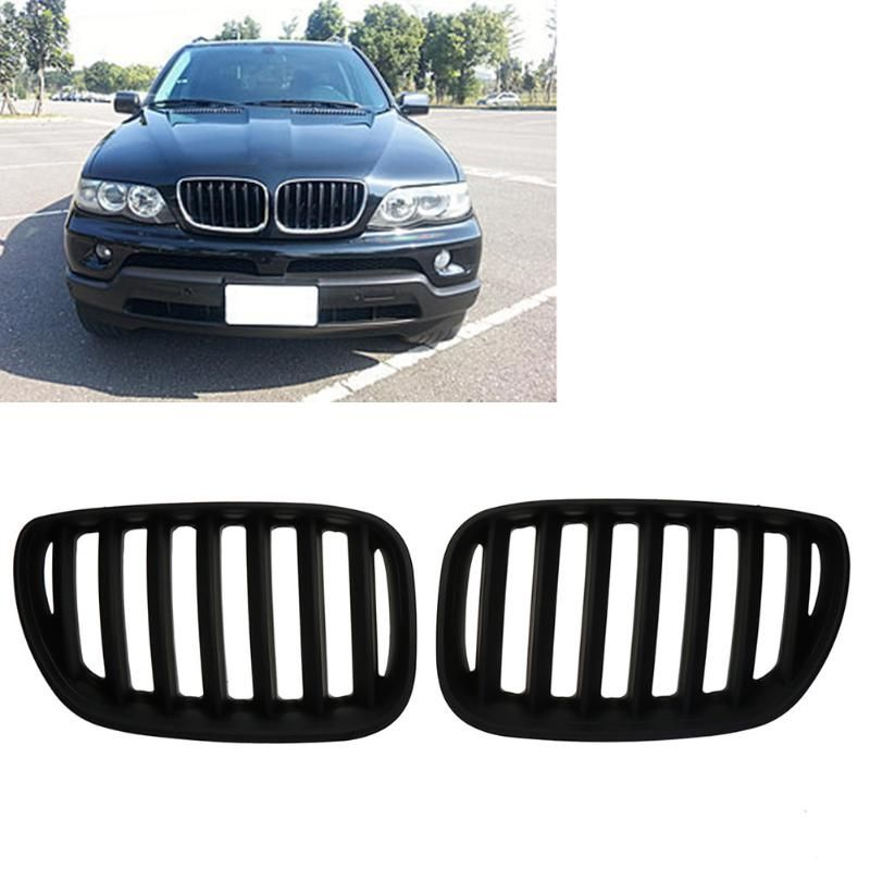2pcs Matte Black Front Kidney Grilles for BMW X5 E53 3.0 4.4 4.6 4.8 04-06 Car Front Bumper Grille for Modification Car Styling