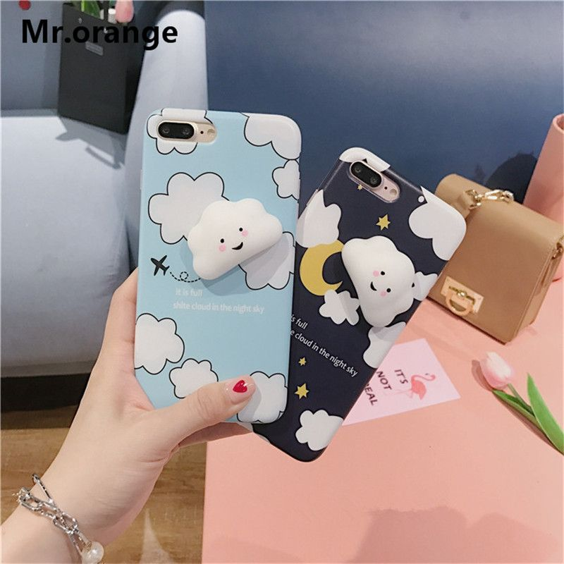 Phone Bag Case For iPhone 7 7 Plus Capa Soft Silicone Cute Cloud Squeeze Pressure Reduce Case For iPhone 6 6S Plus Squishy Cover