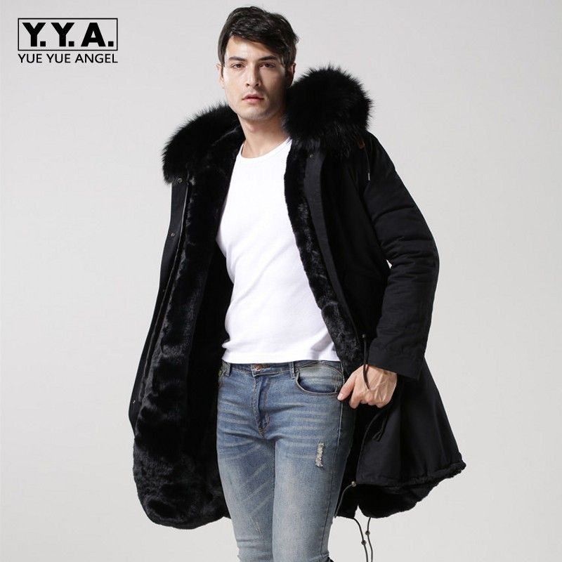2018 New Black Real Fur Collar Hooded Mens Parka Thicken Warm Fur Lining Winter Overcoat Long Jackets Men Large Size S-4XL Coats