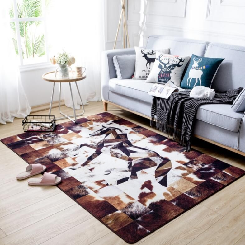 High quality American carpet Faux Cattle fur printed Anti-skid Carpet for Living room/Dining Bedroom tea table Mat floor rug