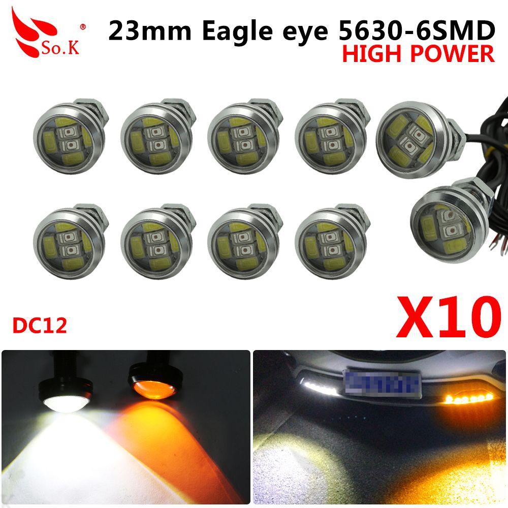 10 pièces 23mm aigle Eye 5630 6 SMD LED DRL 12 V feux de jour blanc jaune Switchback étanche voiture Auto Parking antibrouillard