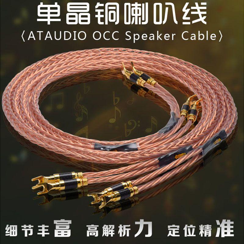 ATAUDIO Hifi 7N OCC Lautsprecher Kabel Hohe Qualität Lautsprecher Kabel Mit Carbon Fiber Gold-überzogene Banana Y Stecker