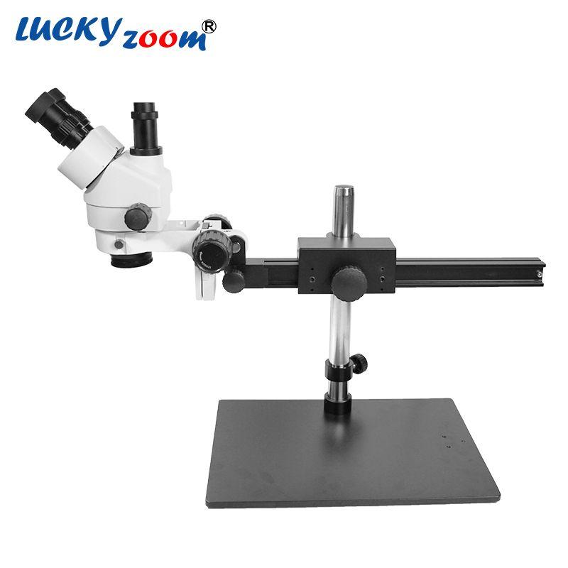 Luckyzoom Brand Professional 7X-45X Trinocular Guide Stereo Zoom Microscope 25cm Working Distance PCB Inspection Microscopio