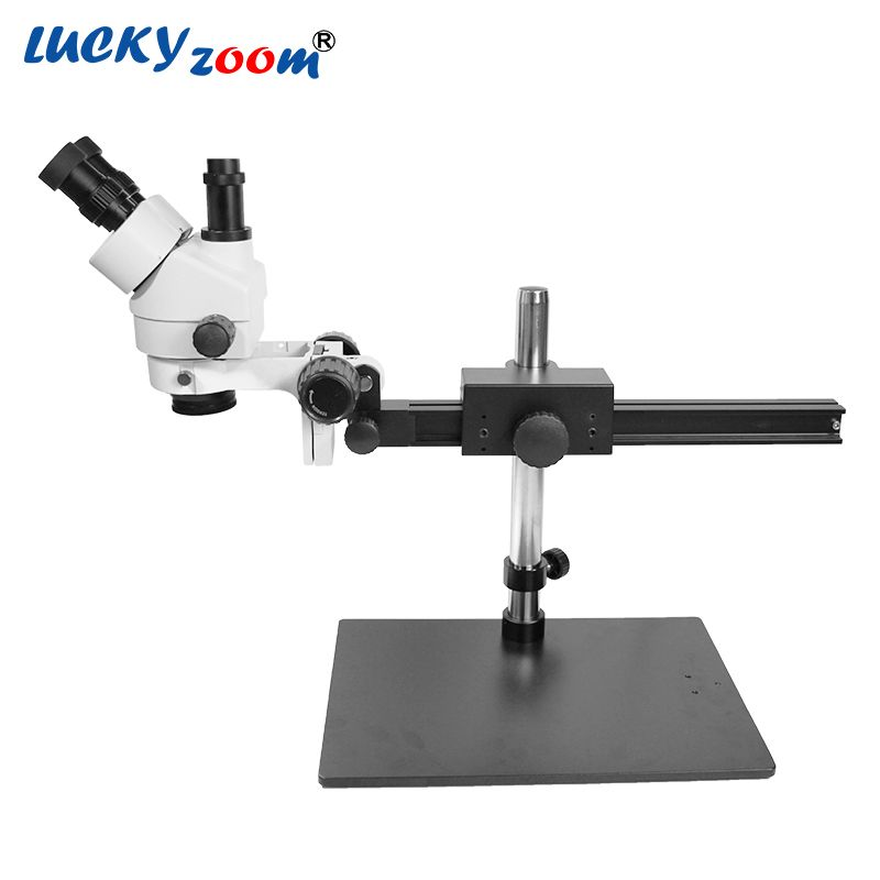 Luckyzoom Brand Professional 7X-45X Trinocular Guide Stereo Zoom Microscope 25cm Working Distance PCB Inspection Microscopio