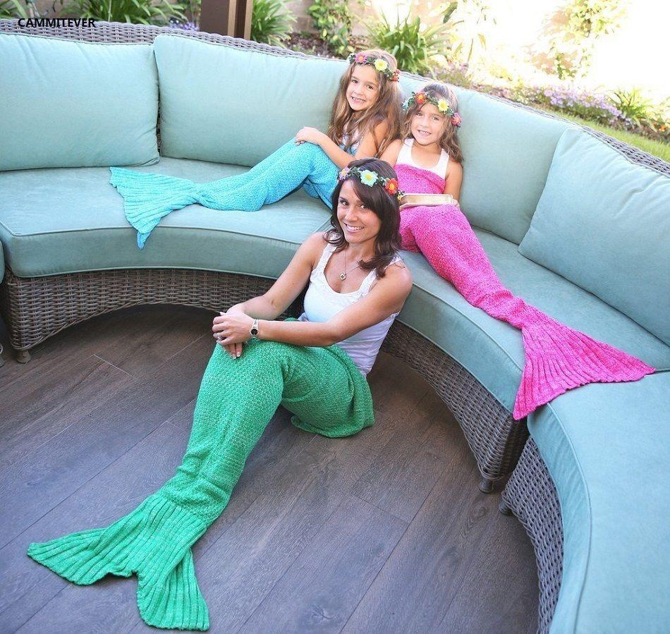CAMMITEVER 4 tailles fil tricoté couverture de queue de sirène lit de couchage doux fait à la main Crochet anti-boulochage couverture Portable pour le printemps
