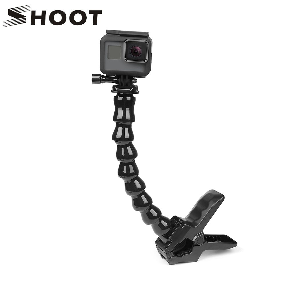 Support de pince de serrage de mâchoires de tir avec col de cygne réglable Flexible pour GoPro Hero 6 5 7 4 Sjcam Yi 4 K accessoire de trépied de caméra d'action