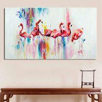 RELIABLI acuarela Flamingo pintura decorativa de grabados y carteles nórdicos de pared para sala de arte