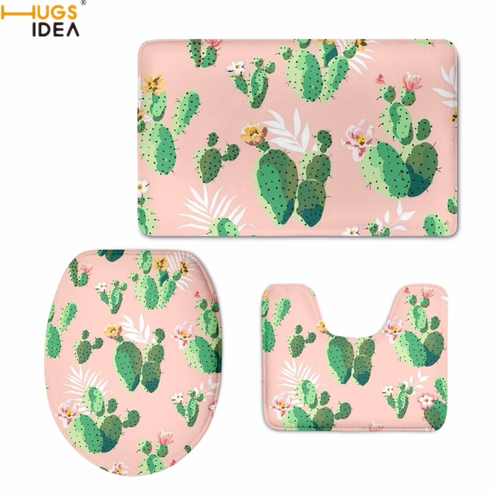 HUGSIDEA Modern Style Green Plants Cactus Print Toilet Seat Covers Bath Accessories 3PCS Set Warm Floor Carpets Washroom Mat Rug