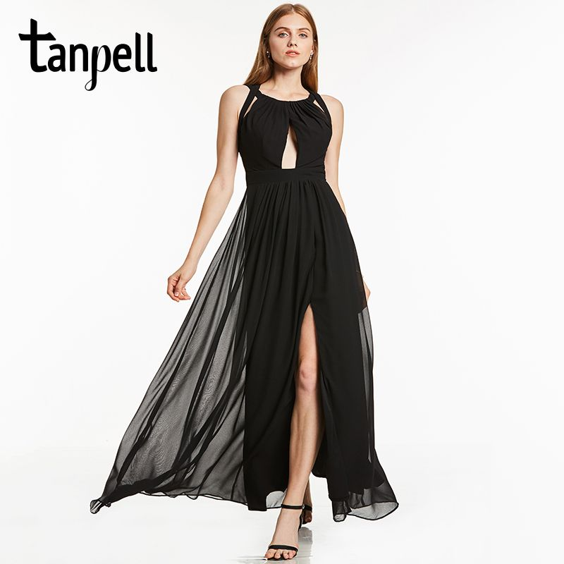 Tanpell halter evening dress black sleeveless a line draped floor length dresses women back criss-cross straps long evening gwon