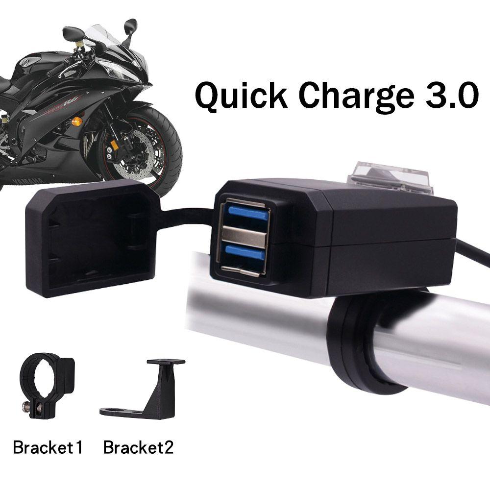 Universel QC3.0 USB chargeur de Moto équipement de Moto double USB changement rapide 12 V adaptateur d'alimentation pour iphone Samsung Huawei
