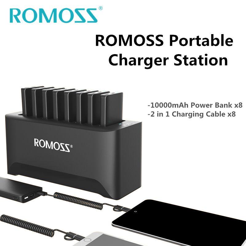 Neue ROMOSS Leistungsstarke Ladegerät Station für Familie und Business 8 stücke 10000 mah Power Bank + 8 stücke 2- in-1 Lade Kabel + Schiff durch UPS
