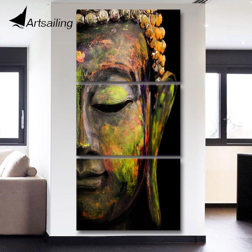 HD с 3 шт. холст Книги по искусству Модульная картина будда картина для зала стены Книги по искусству Модульная картина для Гостиная qt017