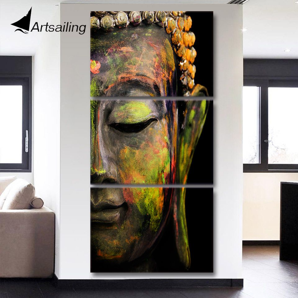 HD printed 3 piece canvas art Modular painting Buddha painting for the hall Wall Art Modular Picture For Living Room QT017