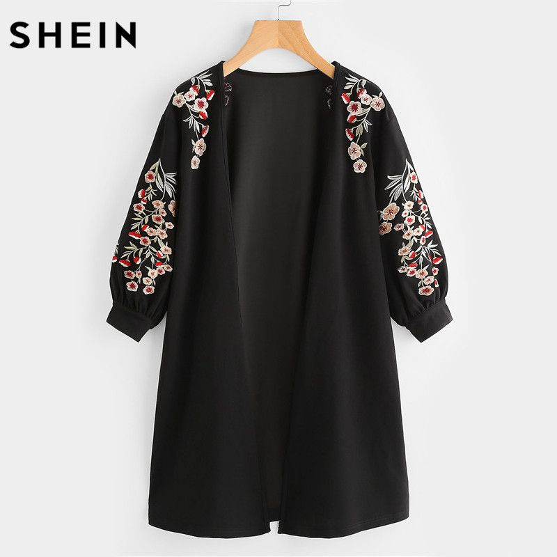 SHEIN Blossom Embroidered Bishop Sleeve Cardigan Autumn Black Collarless Long Sleeve Women Tops Fashion Long Cardigan