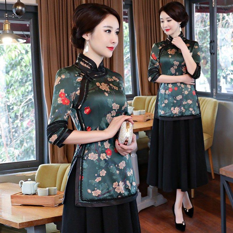 Neue Sommer Frauen Bluse Rock Sätze Traditionelle Chinesische 2 stück Kurzarm Shirt Mandarin Kragen Cheongsam Kleid Größe S-XXXL 9963