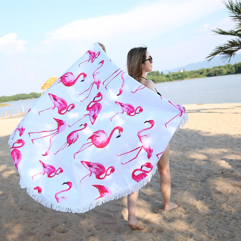 XC USHIO 2019 Newest Style Fashion Flamingo 450G Round <font><b>Beach</b></font> Towel With Tassels Microfiber 150cm Picnic Blanket Mat Tapestry