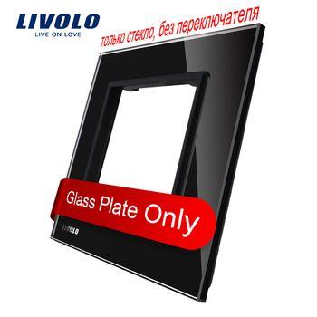 Livolo Luxe Noir Perle Cristal En Verre, 80mm * 80mm, norme EUROPÉENNE DIY Partie De Commutateur Socket, unique Panneau de Verre, VL-C7-SR-12