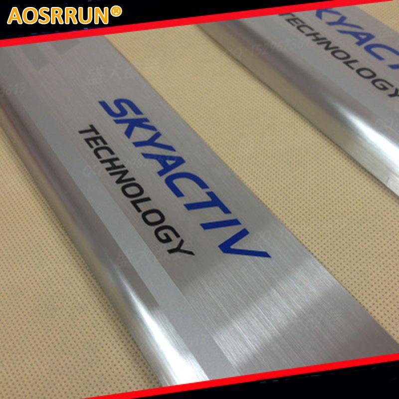 AOSRRUN Stainless Steel Door Sill Scuff Plate Protector SkyaCtiv For 2014 Mazda 3 AXELA M3 CX-5 Sedan Hatchback CAR Accessories