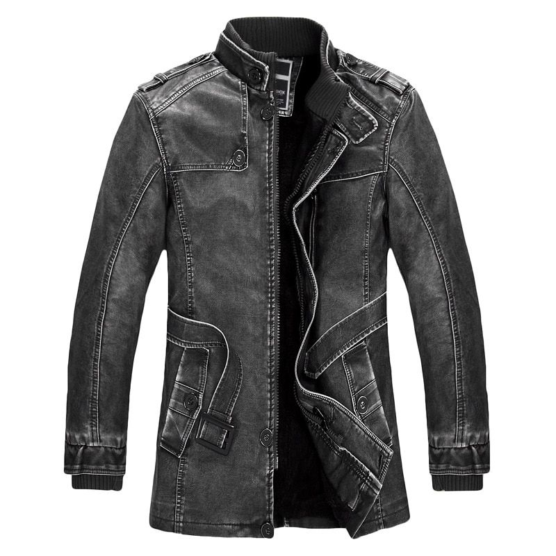 Standing Collar High Quality Leather Jacket For Men Slim Warm Mens Washed Leather Motorcycle Biker Jackets