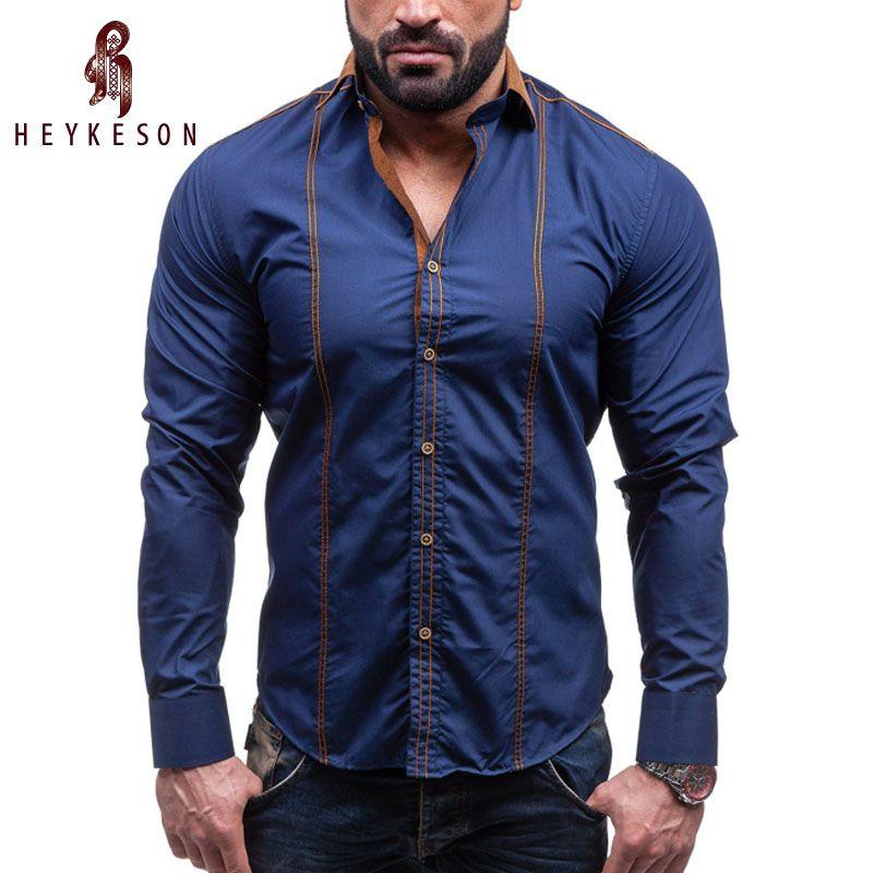 HEYKESON Hommes Shirt Marque 2018 Mâle Grande Taille Chemises À Manches Longues Hit Casual Couleur Slim Fit Noir Mens Robe Chemises 4XL C958