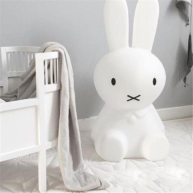 Ins Hot 80cm Rabbit <font><b>Children</b></font> LED Bed Table Lamp Baby Bedroom Dimmable LED Night Light for Kids Gift