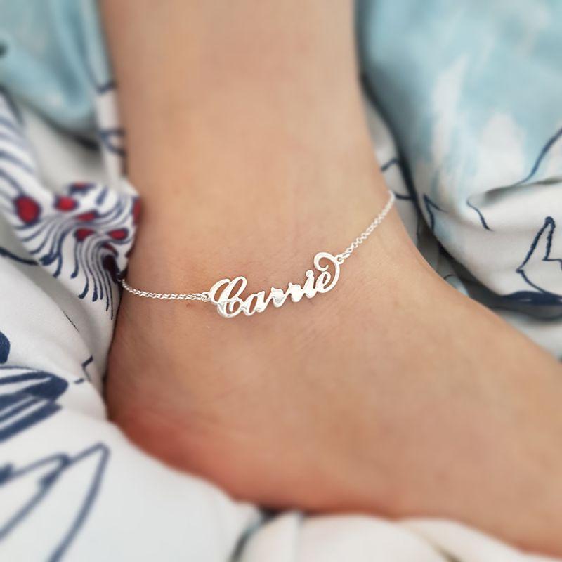 Acier inoxydable nom personnalisé Cheville Persoanlized plaque signalétique jambe chaîne Cheville bracelet Cheville couleur argent Synoke Boho bijoux