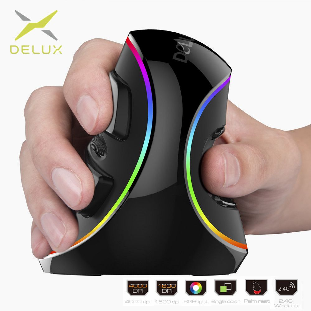 Delux M618 PLUS Ergonomics <font><b>Vertical</b></font> Gaming Wired Mouse 6 Buttons 4000 DPI Optical RGB Wireless Right Hand Mice For PC Laptop