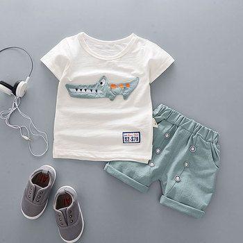 Dessin animé D'été de Coton Ensembles de Vêtements pour Nouveau-Né Bébé Garçon Infantile De Mode Survêtement Vêtements Costume T-shirt + Pantalon Costume Bebes Boy Tissu
