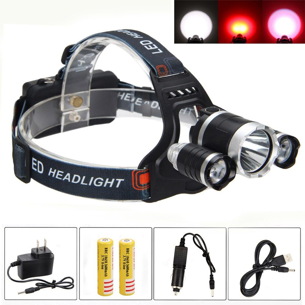 8000LM Hunting Light 3x XML T6 +2x Red R5 LED USB Camping Torch Headlight Light with 18650 Battery+AC/Car Charger