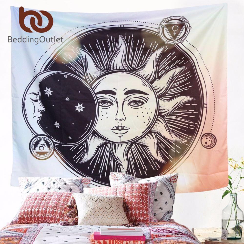 Beddingoutlet Защита от солнца Moon хиппи Гобелены Стене Висит Индийского богемный Celestial печатных окна, двери Шторы 130x150 см 150x200 см