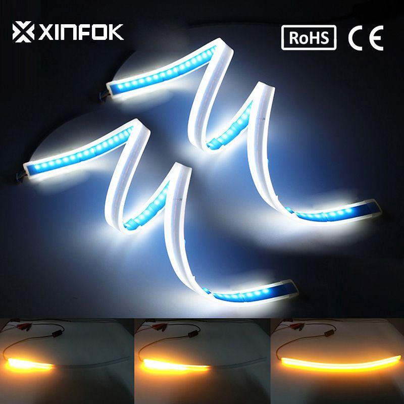 2PCS 60cm Waterproof Flexible Universal Car led DRL Daytime Running Light Flow Runs Headlight LED Strip Brake Turn Signal Lights
