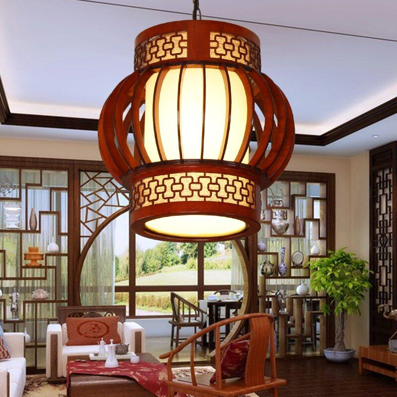 Chinese wooden pendant lamps dining rooms tea houses corridors balcony entrance round lamps pendant lights ZA ZL508