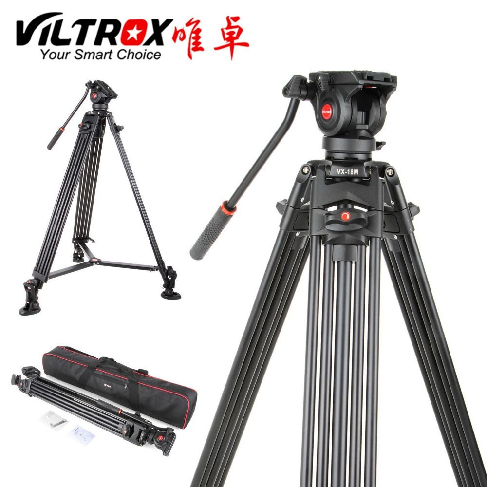 <font><b>Viltrox</b></font> VX-18M 1.8M Professional Heavy Duty Stable Aluminum Non-slip Video Tripod + Fluid Pan Head + Carry Bag for Camera DV