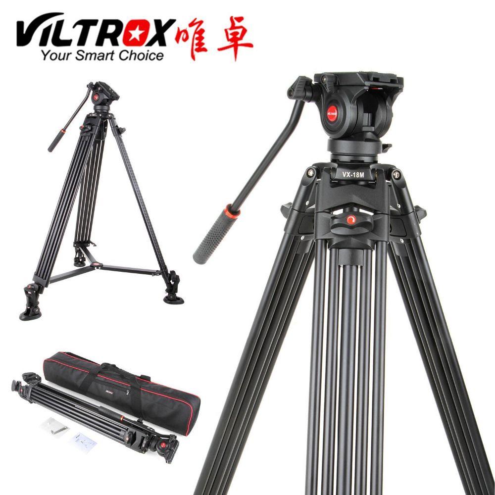 Viltrox VX-18M 1.8M professionnel robuste en aluminium Stable trépied vidéo antidérapant + tête panoramique fluide + sac de transport pour caméra DV